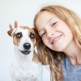 Happy child with dog stock photo