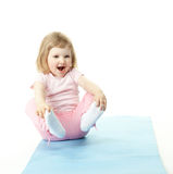 Happy child doing sport exercises Royalty Free Stock Photography