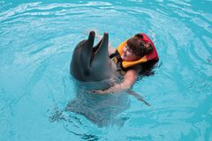 Happy child and dolphins in blue water. Dolphin Assisted Therapy.  stock images