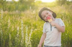 Happy Child eating cookies in the form of ice cream. Kids eat in the garden. Boy in the garden holding a ice cream. royalty free stock photography