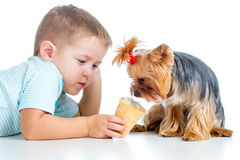 Happy child eating ice-cream isolated royalty free stock images