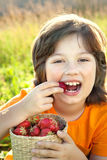 Happy child eating strawberries near a sunny garden with a summe. R day Stock Image