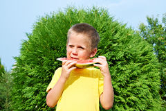 Happy child eating watermelon Stock Images
