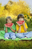 Happy child eating watermelon in garden. Two boys with fruit in Royalty Free Stock Photography
