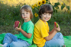Happy child eating watermelon in garden. stock photography