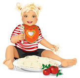 Happy child eats pasta, spaghetti. Stock Image