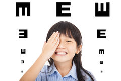 Happy child  with eyesight concept. Isolated Royalty Free Stock Image