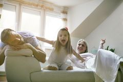 Happy child. Family at home. stock images