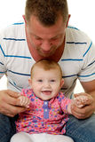 Happy child and father Stock Images
