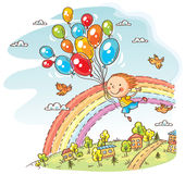 Happy child flying with the balloons. Colorful cartoon Stock Photos