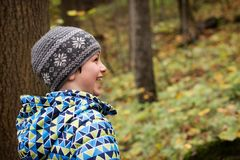 Happy child in a forest royalty free stock photography