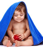 Happy child with fresh fruit royalty free stock photography