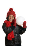 Happy child with giant snowball Royalty Free Stock Image