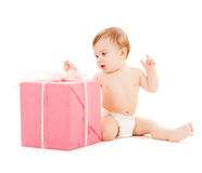 Happy child with gift box Royalty Free Stock Image
