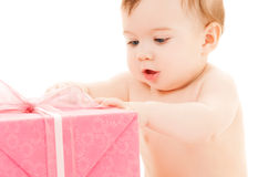 Happy child with gift box Royalty Free Stock Photo