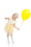 Happy child girl with balloon on white background Stock Images