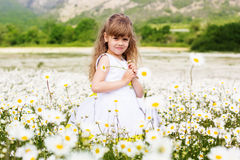 Happy child girl at camomile field Royalty Free Stock Photography