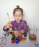 Happy Child Girl Draws Paints Stock Photos