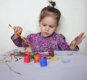 Happy Child Girl Draws Paints Royalty Free Stock Photos