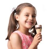 Happy Child Girl Eating Ice Cream Concept Isolated On White stock photo