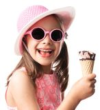 Happy Child Girl Eating Ice Cream Concept Isolated On White royalty free stock image
