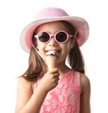 Happy Child Girl Eating Ice Cream Concept Isolated On White royalty free stock photos