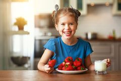 Happy child girl eating strawberries with milk. At home stock images