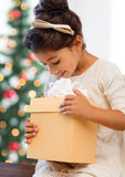 Happy child girl with gift box Royalty Free Stock Photo