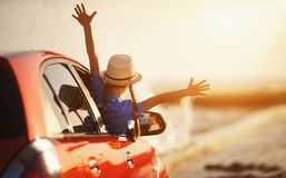 Free Happy Child Girl Goes To Summer Travel Trip In Car Royalty Free Stock Images - 147571409