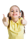 Happy child girl with hands thumbs up isolated. Happy kid girl with hands thumbs up royalty free stock images