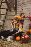 Happy child girl and her dog picking fresh apples on the farm. Country living concept Stock Photography