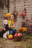 Happy child girl and her dog picking fresh apples on the farm. Country living concept Stock Photos