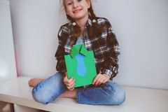happy child girl making greeting card for Fathers Day Stock Photography