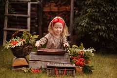Happy child girl making rowan berry beads in autumn garden Stock Photography