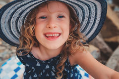 Happy child girl making selfie, cozy summer holidays on seaside Royalty Free Stock Photo
