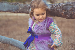 Happy child girl in near wooden fence Royalty Free Stock Photos