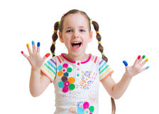 Happy child girl with painted hands Royalty Free Stock Image
