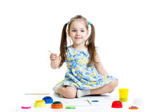 Happy child girl with paints Stock Photo