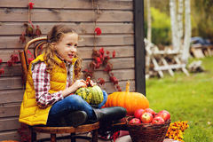 Happy child girl picking fresh apples on the farm. Country living concept, cozy seasonal decorations Stock Photography