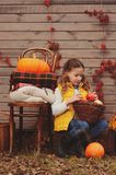 Happy child girl picking fresh pumpkins on the farm. Country living concept, growing vegetables on farm Stock Image