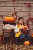 happy child girl picking fresh pumpkins on the farm. Stock Image