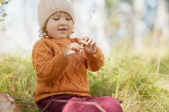 Mushroom picker, cute little girl in the forest. Royalty Free Stock Photos