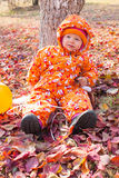 Happy child girl is playing with leaves in autumn park. Stock Photos