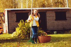 Happy child girl playing little gardener in autumn and picking leaves into basket. Seasonal garden work. Backyard cleaning stock image