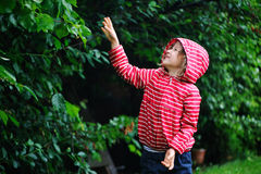 Happy child girl playing under the rain in summer garden Royalty Free Stock Images