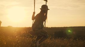 Happy child girl on swing at golden summer sunset. Silhouette of a young teenager girl swinging on the lone tree at stock video