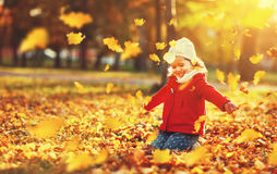 Happy child girl throws autumn leaves and laughs Stock Image