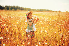 Happy child girl walking on summer meadow with dandelions. Rural country style scene, outdoor activities. Cozy lifestyle royalty free stock image