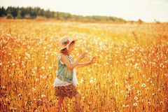 Happy child girl walking on summer meadow with dandelions. Rural country style scene, outdoor activities. Cozy lifestyle royalty free stock photos