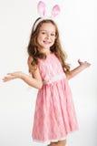Happy child girl is wearing bunny ears, christmas Stock Photos